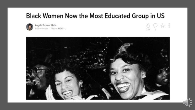 black women and education The cbc spouses education scholarship is for african-american or black students for all majors who are preparing to pursue or are currently pursuing an undergraduate or graduate degree full-time at a us accredited college or university.